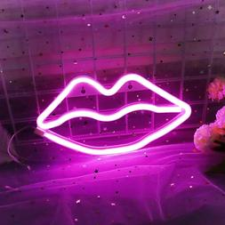 Neon Signs,Room Decor Aesthetic Lip Neon Signs for Bedroom D