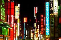 Neon Signs in Shinjuku Ward Tokyo Japan Photo Art Print Post