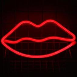 Neon Wall Light Sign Lips Night Fairy Lights Marquee Battery