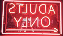 """New Adults Only Arrow Neon Sign 20""""x16"""" Real Glass Lamp Ligh"""