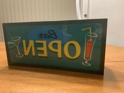 """New Bar Open Sign Light 12"""" Lighted Novelty Sign Wall Moun"""