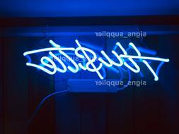 New Blue Hustle Acrylic Neon Sign 14'' Light Lamp Bar Wall D