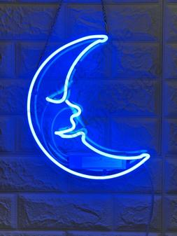 "New Blue Moon Wall Decor Artwork Neon Light Sign 12""x12"""