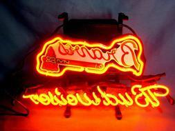 """New Budweiser Atlanta Braves Neon Light Sign 17""""x14"""" Lamp Po"""