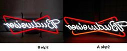 New Budweiser Bow Tie Bowtie Man Cave Neon Light Sign Glass
