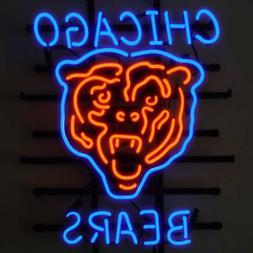 "New Chicago Bears Orange Logo NFL Real Glass Neon Sign 24""x2"
