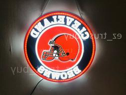 "New Cleveland Browns LED 3D Neon Sign 16"" Bar Lamp Decor Pos"