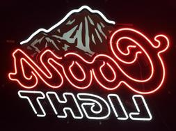 "New Coors Light Mountain Red Neon Light Sign 17""x14"""