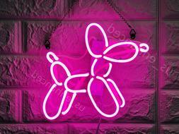 New Dog Balloon Pink Neon Sign Acrylic Gift Light Lamp Bar W