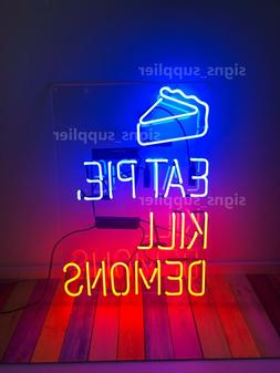 "New Eat Pie Kill Demons Neon Sign Acrylic 24"" Bedroom Light"