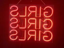 New Girls Girls Girls Red Pub Acrylic Neon Light Sign 14""