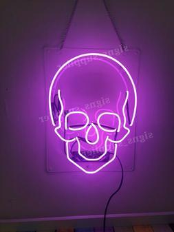 New Haunted Skull Purple Bedroom Gift Poster Acrylic Neon Li