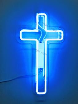 New Jesus Cross Blue Neon Sign Acrylic Gift Light Lamp Bar W