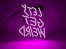 New Let's Get Weird Purple Pub Wall Decor Acrylic Back Neon
