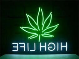 New Marijuana Hemp Leaf High Life Bar Cub Decor Artwork Neon