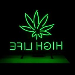 New Marijuana Hemp Leaf High Life Weeds Green Neon Light Lam