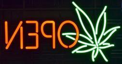 New Marijuana Open Leaf Weed Bar Pub Light Lamp Neon Sign 20