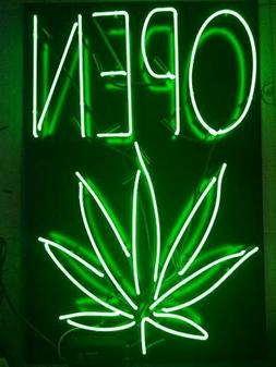 "New Open High Life Leaf Weeds Neon Light Sign 24""x20"" Lamp P"