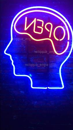 "New Open Mind Red Blue Neon Light Sign 14""x10""  Real Glass D"