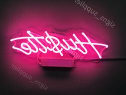 "New Pink Hustle Decor Artwork Real Glass Neon Light Sign 14"""