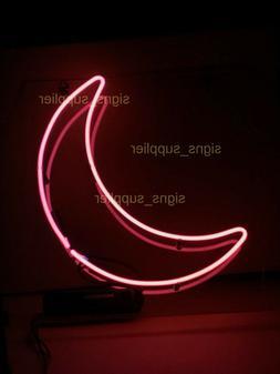 "New Pink Moon Neon Sign Acrylic Gift Light Lamp Bar Wall 14"""