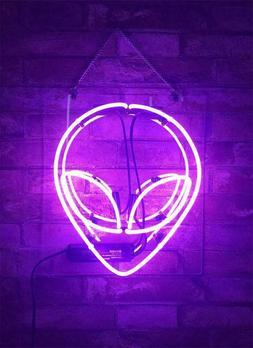 "New Purple Alien Acrylic Neon Sign 14"" Bedroom Artwork Light"