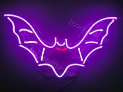 New Purple Bat Real Glass Bedroom Gift Acrylic Neon Light Si