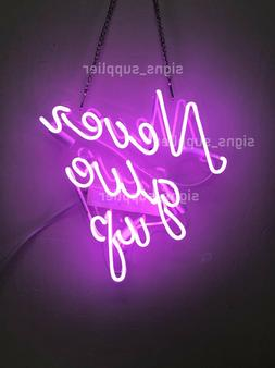 New Purple Never Give Up Acrylic Neon Sign 14'' Light Lamp W