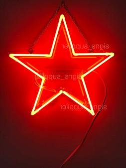 "New Red Star Acrylic Neon Light Sign 14"" Real Glass Bedroom"