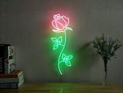 New Rose Flower Love Neon Sign For Bedroom Wall  Home Decor