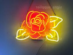 New Rose Flower Yellow Leaves Acrylic Neon Sign 14'' Light L