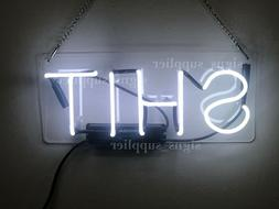 New SHXT White Neon Light Sign Real Glass Bedroom Acrylic De