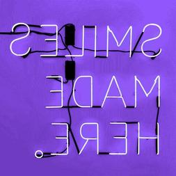 New Smiles Made Here Purple Wall Decor Acrylic Neon Light Si