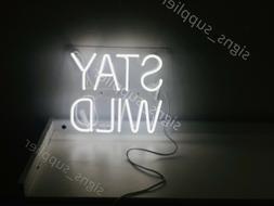 New Stay Wild White Neon Sign Wall Decor Artwork Light Lamp