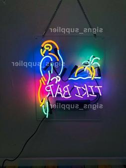 "New Tiki Bar Parrot Palm Tree Sun Neon Sign Acrylic 17"" Ligh"