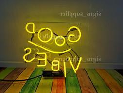 New Yellow Good Vibes Neon Light Sign Real Glass Bedroom Acr