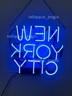 New York City Blue Acrylic Neon Sign 14'' Light Lamp Bar Wal