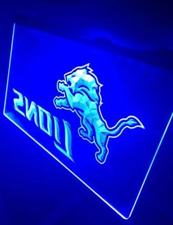 NFL DETROIT LIONS LED Neon Sign for Game Room,Office,Bar,Man
