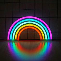 Ninight Rainbow Neon Light, Cute Colorful Neon Rainbow Sign,