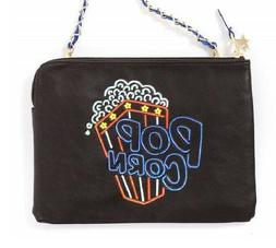 NWT Misfits Black POPCORN Purse Neon Sign Clutch Blue Metall