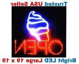 Large Open Ice Cream Cone Yogurt Signs Led Neon Business Mot