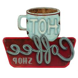 Open Road Brands - Retro Vintage Metal Tin Sign, Hot Coffee