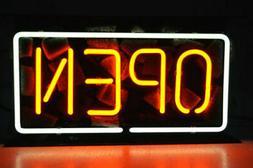 "Open White-Orange Neon Lamp Sign 14""x8"" Acrylic Bright Light"