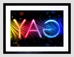 PAINTING GRAPHIC NEON SIGN GAY COLOURFUL RAINBOW FRAMED ART