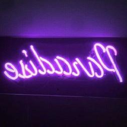 "Paradise Purple Neon Sign Bar Decor Gift 14""x7"" Light Lamp A"