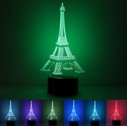 Paris Eiffel Tower LED Neon Sign Projector Illusion Night La