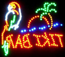 Parrot Tiki Bar Neon LED Flashing Sign with Palm Tree and Oc