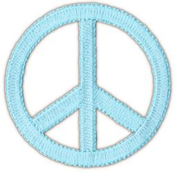 Peace Sign Applique Patch - Neon Blue 2.25""