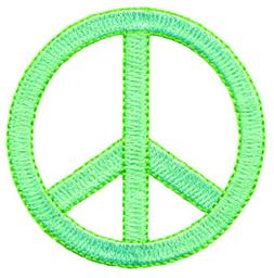 Peace Sign Applique Patch - Neon Green 2.25""