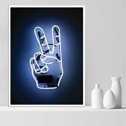 Peace Sign Neon Wall Art, Boys Room Art Print Poster, Man Ca